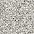Floral ornament seamless pattern. Black and white round ornament texture Royalty Free Stock Photo