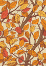 Floral ornament seamless pattern with leaves and brances of yellow red autumn on beige background Stock Photography