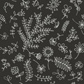 Floral ornament sketch, seamless background Royalty Free Stock Image