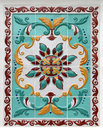 Floral ornament on tiles traditional russian Royalty Free Stock Images