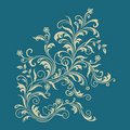 Floral ornament on turquoise background Stock Images