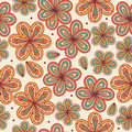 Floral ornamental seamless pattern. Decorative flowers background. Endless doodle texture for prints, crafts, textile Stock Images