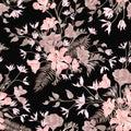Floral ornamental seamless pattern. Flower garden background. Fl
