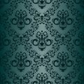 Floral ornamental seamless turquoise Wallpaper in retro style Royalty Free Stock Photo