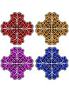 Floral ornaments set flourish in blue violet yellow and red Stock Image