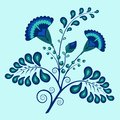 Floral ornate pattern ethnic style blue azure flowers