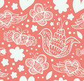 Floral ornate pattern with many cute details seamless beautiful background flowers hearts and butterflies Stock Photo