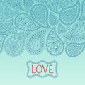 Floral paisley background with indian ornament and place for your text. Royalty Free Stock Photo