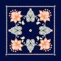 Floral Paisley Pattern On Dark...