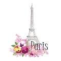 Floral Paris Illustration Famous Paris landmark Eiffil Tower.
