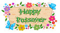 Floral passover banner happy with flowers eps Stock Image