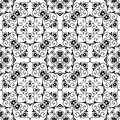 Floral pattern abstract black and white seamless Stock Photos