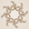Floral pattern abstract flower design element in light and dark brown colors Stock Image