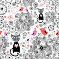 Floral pattern with black cats and birds Stock Image