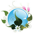 Floral pattern with blue aqua button Stock Photo