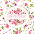Floral pattern with branch of roses in oval label. Royalty Free Stock Photo
