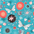 Floral pattern with butterflies in love Royalty Free Stock Image
