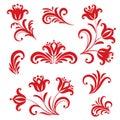 Floral pattern design element set. Ornamental flowers in russian
