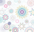 Floral pattern with flowers and colorful circles Stock Images