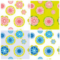 Floral pattern four vector seamless patterns Royalty Free Stock Photo