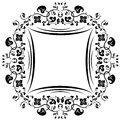 Floral pattern frame black and white Royalty Free Stock Photography
