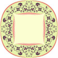 Floral pattern frame round yellow brown and coral Stock Photo