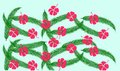 Floral pattern with green palm leaves and red hibiscus flowers on blue background