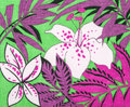 Floral pattern on neon green fabric. Royalty Free Stock Photo