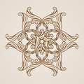 Floral pattern ornate flower illustration in light and dark brown colors Royalty Free Stock Photo