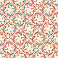 Floral pattern with pink and blue leaves seamless abstract swirls on a beige background Stock Photos