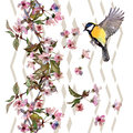 Floral pattern sakura and bird  on chevron ornament. Royalty Free Stock Photo