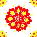 Floral Pattern Seamless with Red and Yellow Petals Vector