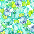 Floral pattern with the turquoise and blue beautiful flowers painted in watercolor on a white background Royalty Free Stock Photo