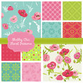 Floral patterns poppy theme seamless in vector Stock Photos