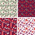 Floral patterns purple and red seamless set Stock Photography