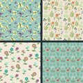 Floral patterns seamless decorative collection Royalty Free Stock Photos
