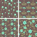 Floral patterns seamless decorative set Royalty Free Stock Image