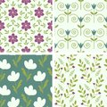 Floral patterns seamless pastel set Royalty Free Stock Photography