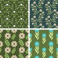 Floral patterns seamless pattern decorative set Stock Photo