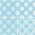 Floral patterns. Set of blue and white seamless backgrounds