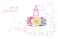 Floral perfume bottle with flowers on white background Royalty Free Stock Photography