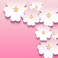 Floral pink background with 3d flowers sakura Royalty Free Stock Photo