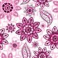 Floral pink grunge seamless pattern Royalty Free Stock Photo