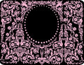 Floral pink oval frame Royalty Free Stock Images