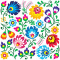 Floral Polish folk art pattern in square - Wzory Lowickie, Wycinanki Royalty Free Stock Photo