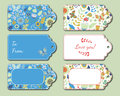 Floral present tags. Holiday gift cards Royalty Free Stock Photo