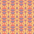 Floral red seamless pattern. Bright colored background with yellow and blue flower elements