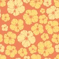 Floral  repeating pattern of a hibiscus flower. Royalty Free Stock Photo