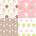 Floral retro seamless patterns pretty pink lime coffee colours Royalty Free Stock Photography