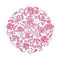 Floral roses love letter doodle ornaments inscribed in a circle
